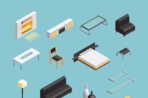 Home interior isometric icons set