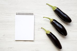 Fresh raw eggplant with notebook