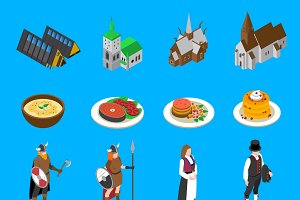 Norway tourists isometric icons set