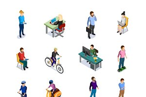 Isometric people icons set