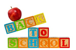 Back to School spelled out in wooden
