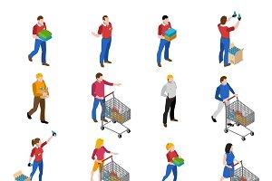 Supermarket isometric icons set