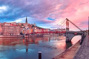 Old town of Lyon at gorgeous sunset