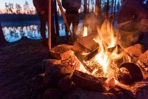 Fireplace in camping near lake