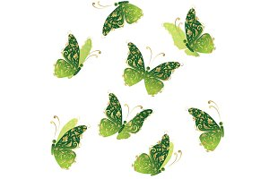 Green art butterfly flying, floral