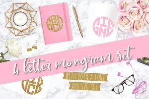 4 Letter Circle Monogram Font & Kit