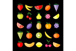 Energy fruits. Vector collection for