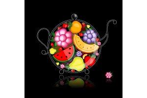 Fruit drink, teapot on black for