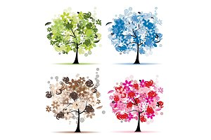 Set of floral trees beautiful for