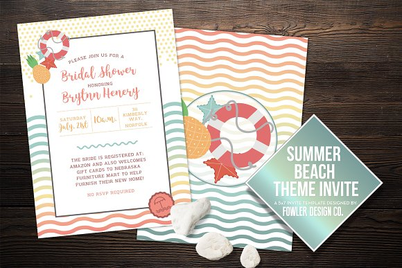 beach theme summer invite 5x7 invitation templates creative market