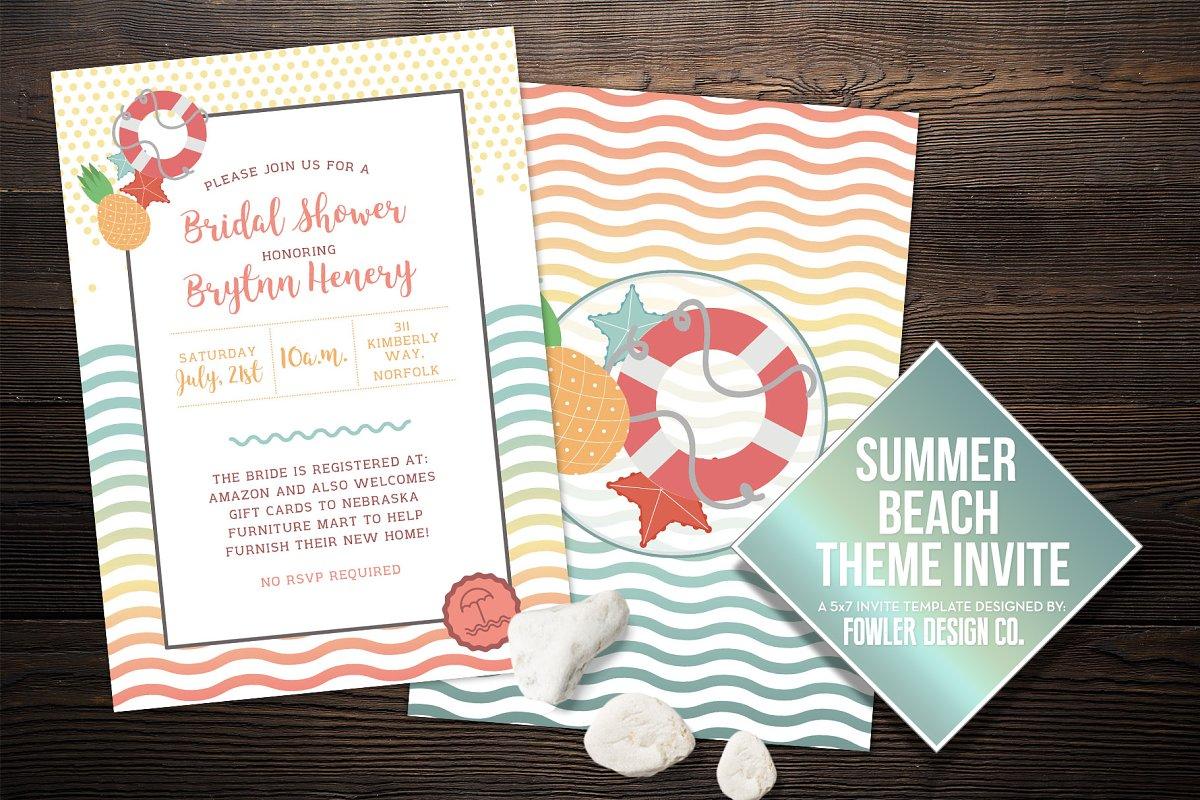 Beach Theme Summer Invite 5x7
