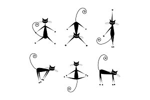 Graceful cats silhouettes black for