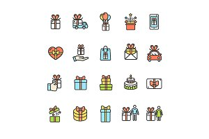 Present Gift Thin Line Icon Set