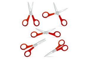 Realistic Detailed 3d Scissors Set.