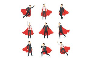 Businessman Superhero Characters Set