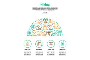Camping Hiking Set. Vector