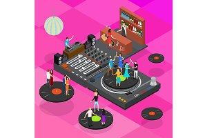 DJ Club Bar Concept 3d Isometric
