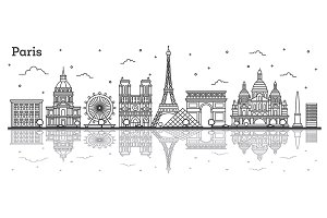 Outline Paris France City Skyline
