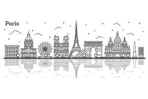 Outline Paris France City Skyline