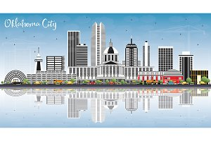 Oklahoma City Skyline with Gray