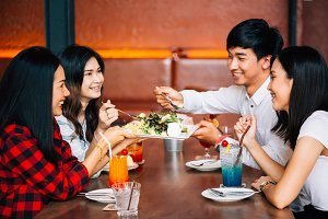 Group of Asian happy and smiling you