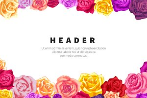 Flyer template with lots of roses