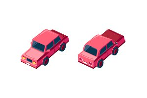 Isometric red passenger car