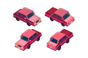 Isometric set red sedan car