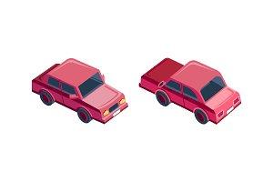 Isometric red sedan car