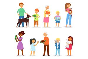 People with pet vector woman or man