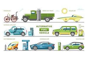 Fuel alternative vehicle vector team