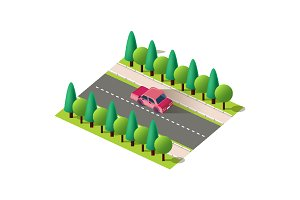 Isometric back view red car