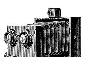 Vintage stereo camera or stereoscopi
