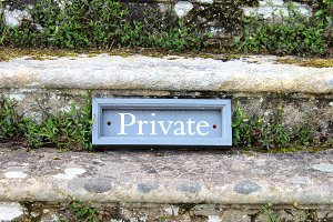 """Sign """"Private"""" on Stairs"""