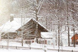 Alpine village at snow winter