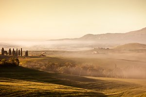 Morning fog view in Tuscany