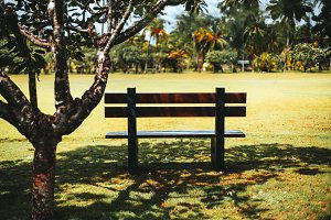 Empty wooden bench in resort