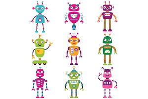 Cute robot characters, set of nine