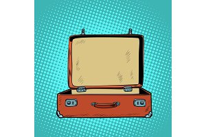 old open retro suitcase. Travel and