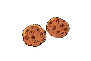 chocolate chip cookies isolate on