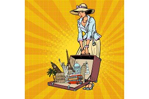 Pop art retro woman traveler