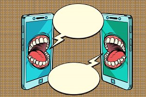 Chat communication by phone concept