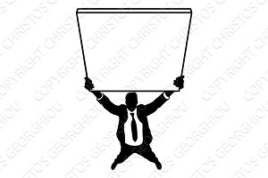 Business Man Holding Sign Silhouette