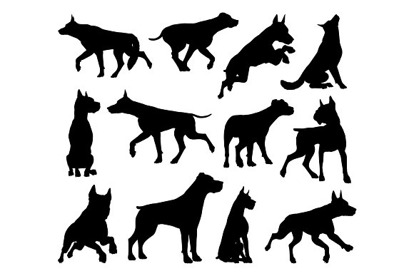 Dog Silhouettes Animal Set in Illustrations