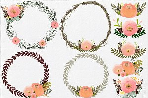 Watercolor Wreath & Buquets