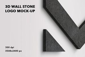 3D wall stone logo mock-up