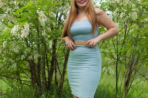 young sexy girl plus size spring on