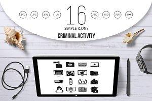 Criminal activity icons set, simple