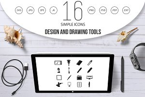 Design and drawing tools icons set