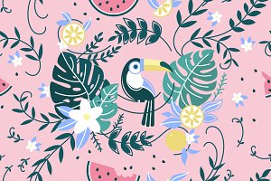 Pattern with parrot